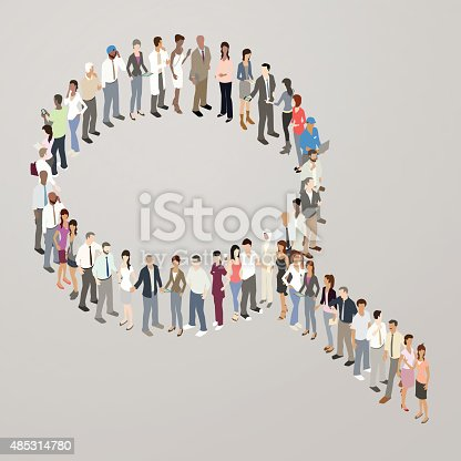 Detailed, illustrated people stand and form the shape of a search icon or magnifying glass