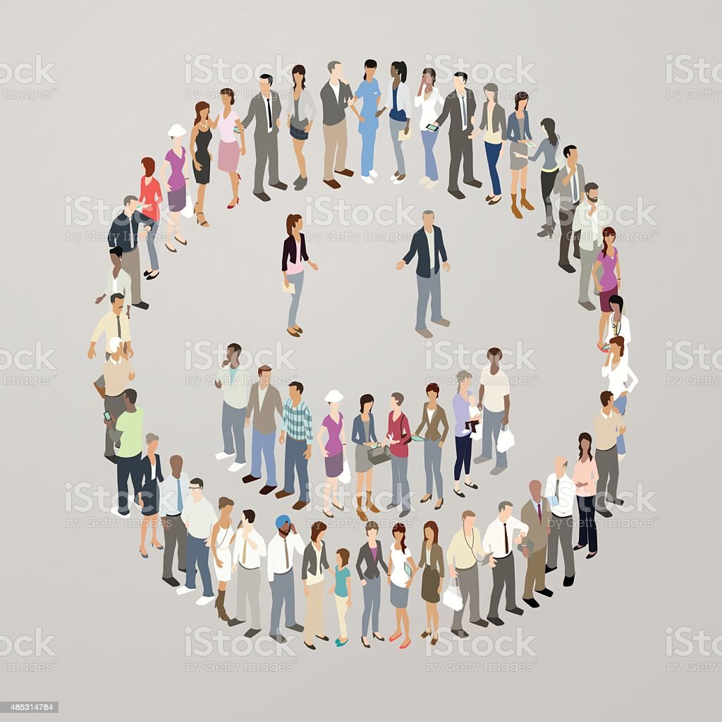 People forming smiley face vector art illustration
