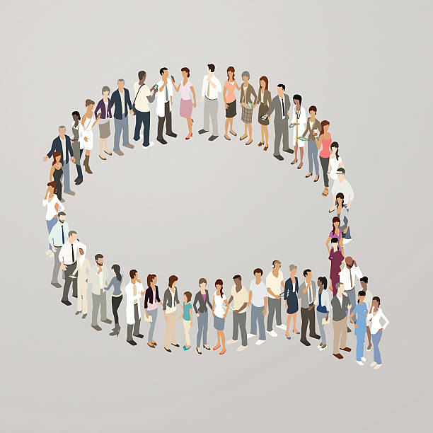 people forming speech bubble - mathisworks people icons stock illustrations, clip art, cartoons, & icons