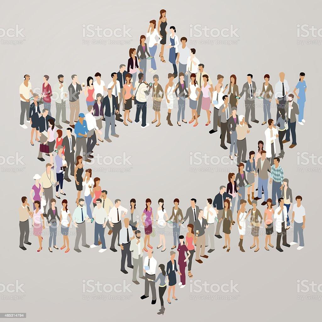 People forming Star of David vector art illustration