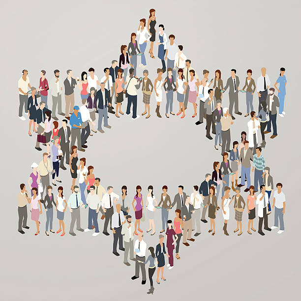 people forming star of david - mathisworks people icons stock illustrations, clip art, cartoons, & icons
