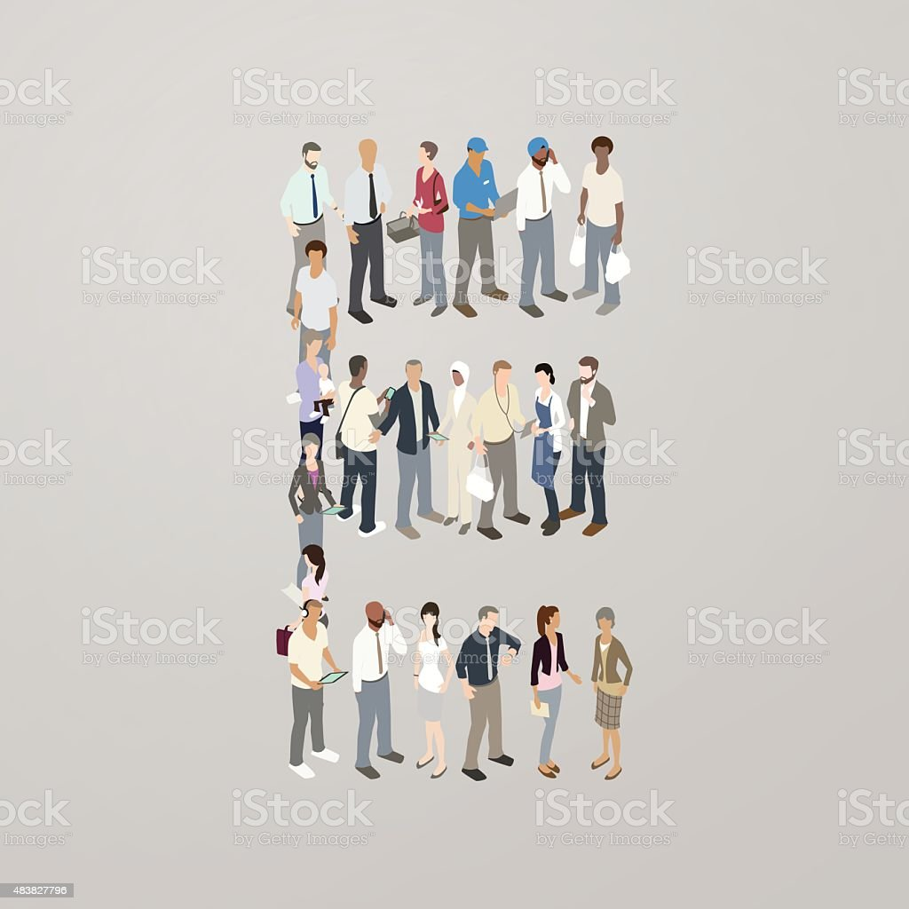 People forming the letter E vector art illustration