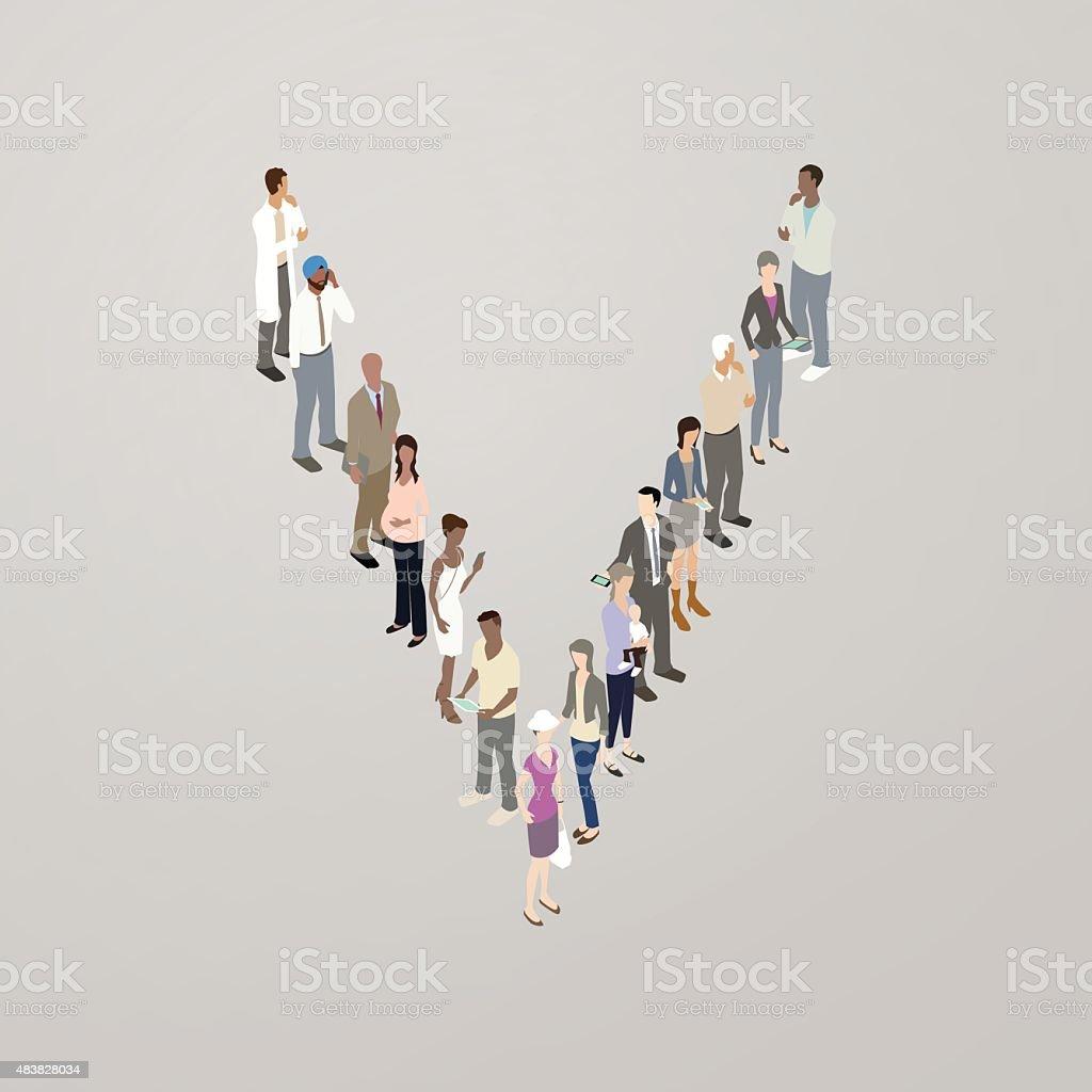 People forming the letter V vector art illustration