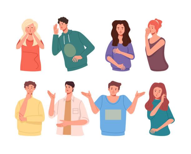 illustrazioni stock, clip art, cartoni animati e icone di tendenza di i personaggi degli amici raccontano voci di gossip. raccolta di set di illustrazioni per illustrazioni di disegni grafici di cartoni animati piatti vettoriali - ear talking