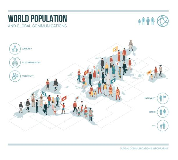 people from all over the world - demographics infographics stock illustrations, clip art, cartoons, & icons