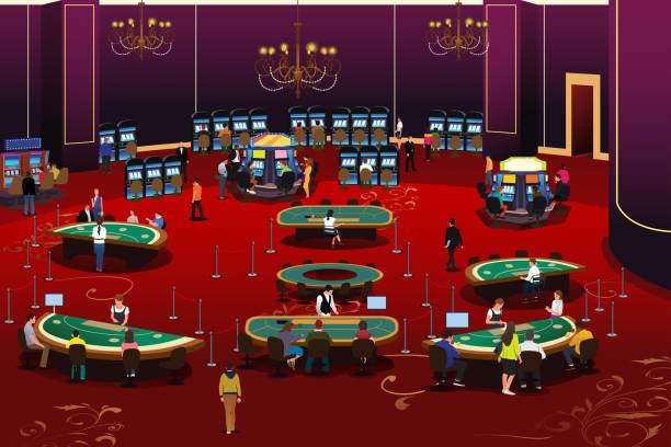 menschen, die in abbildung casino glücksspiel - tischarrangements stock-grafiken, -clipart, -cartoons und -symbole