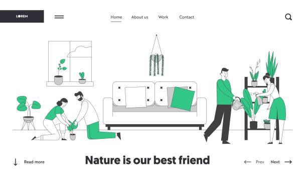 ホームウェブサイトのランディングページでガーデニングをする人々。花の世話をする植物と幸せな家族のカップルの宿題, ポットに削除, 缶から水をやる ウェブページバナー漫画フラット� - 妻点のイラスト素材/クリップアート素材/マンガ素材/アイコン素材