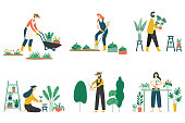 People gardening. Woman planting gardens flowers, agriculture gardener hobby and garden job. Gardening person, gardener flowers cutter working. Flat vector illustration isolated icons set