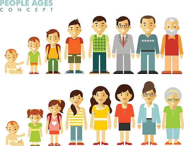 People generations at different ages vector art illustration
