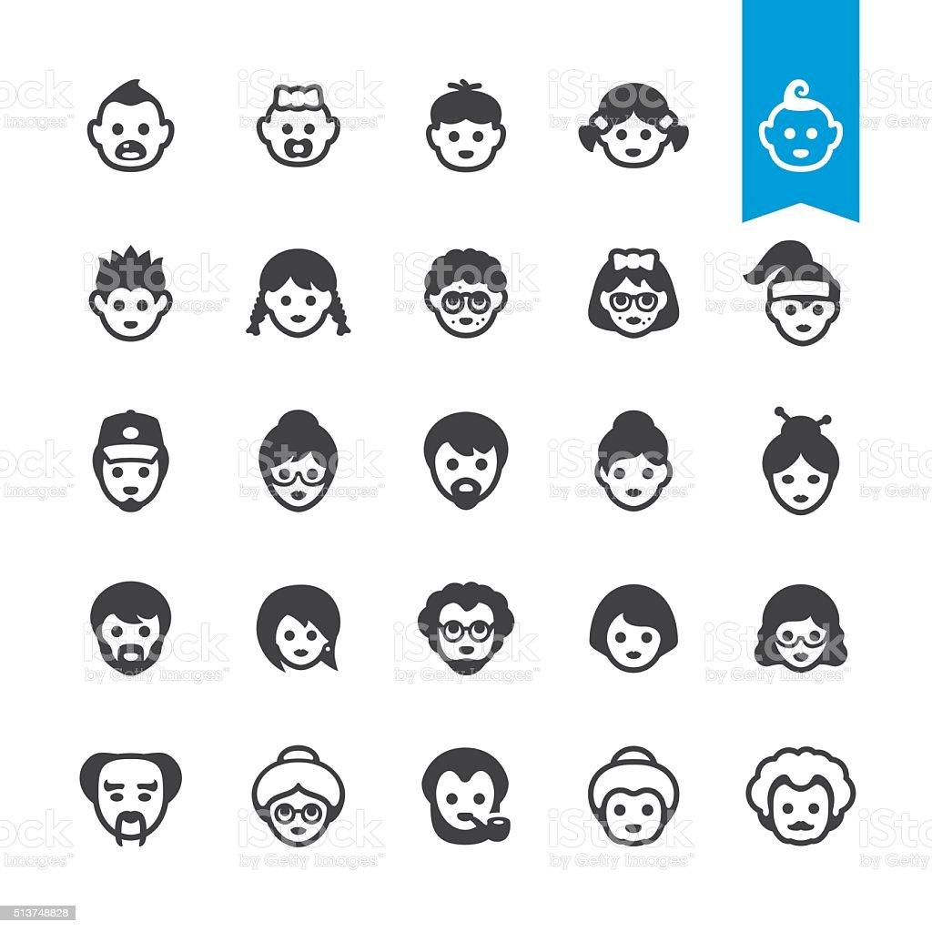 Persone generazioni Avatar del processo di sviluppo, invecchiamento e icone vettoriali - illustrazione arte vettoriale