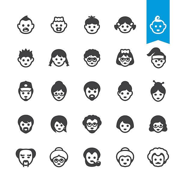 직원관리 세대의 아바타, 노화 및 성장 프로세스 벡터 아이콘 - 가정 물건 실루엣 stock illustrations