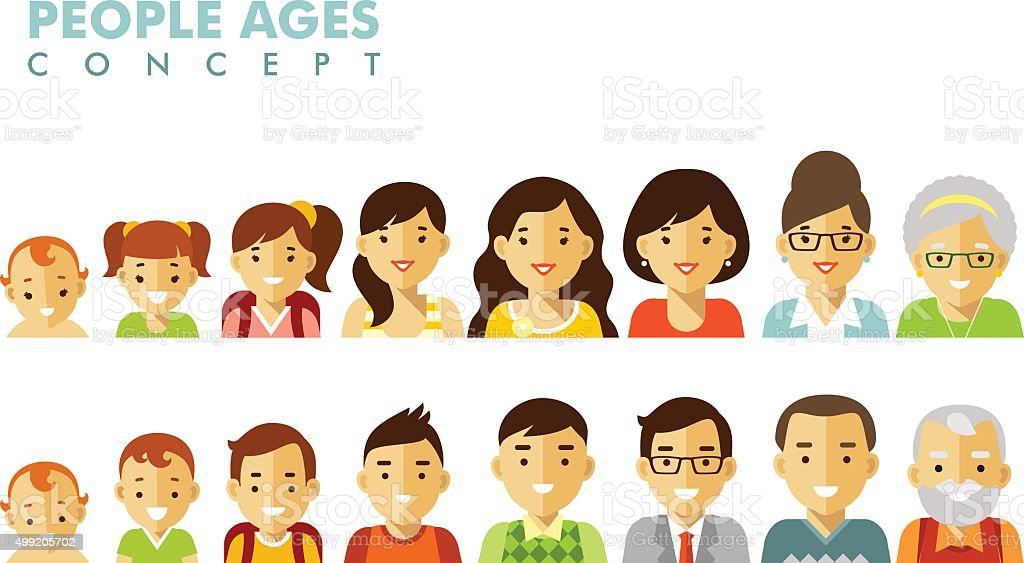 People generations avatars at different ages vector art illustration