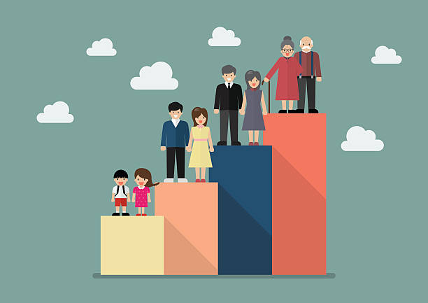 people generations bar graph - demographics infographics stock illustrations, clip art, cartoons, & icons