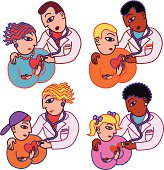 Vector cartoons of people getting checkups from their doctors.