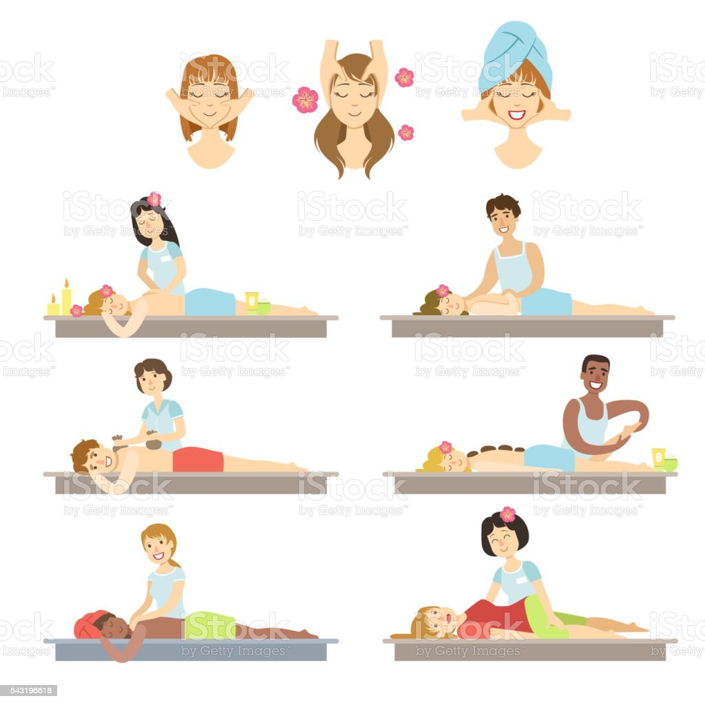People Getting Facial And Body Massage In Spa vector art illustration