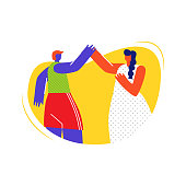 People Giving High Five Flat Vector Illustration. Sportswoman and Feminine Lady, Man and Woman Friendship. Diversity, Unity, Human Support. Male and Female Friends Simple Faceless Characters