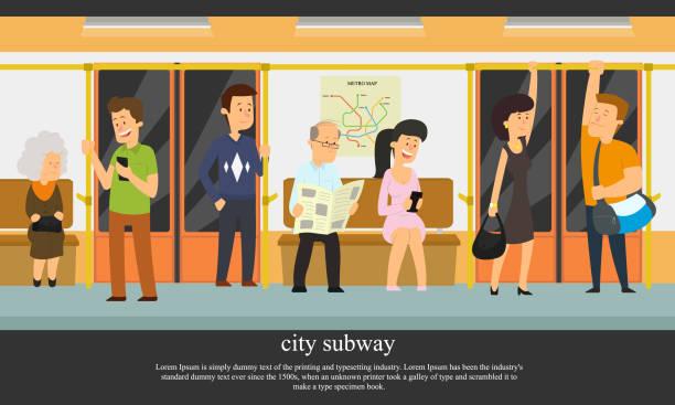人々 は、地下鉄に行きます。 - 通勤点のイラスト素材/クリップアート素材/マンガ素材/アイコン素材