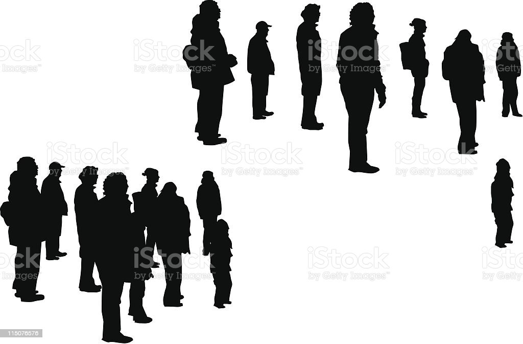 People going on a guided tour royalty-free stock vector art