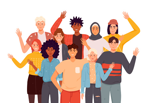 People greeting gesture flat vector illustrations set. Different nations representatives waving hand. Men, women in casual clothes say hello.