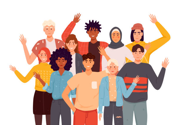 People greeting gesture flat vector illustrations set. Different nations representatives waving hand. Men, women in casual clothes say hello. People greeting gesture flat vector illustrations set. Different nations representatives waving hand. Men, women in casual clothes say hello. religious veil stock illustrations