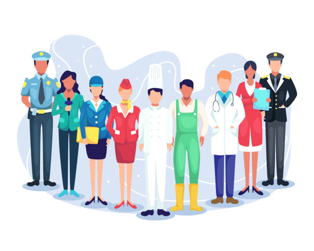 People group different occupation set Professional workers labor day cartoons. Illustration speakers of podcast, experts from various professions. Employees mix race workers. Vector in flat style labor day stock illustrations