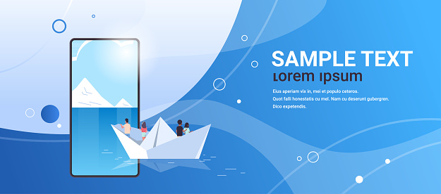 people group floating on paper boat rear view men women team traveling on sheep discovery concept smartphone screen online mobile application flat horizontal copy space