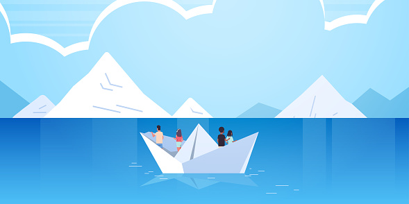 people group floating on paper boat rear view men women team traveling on sheep discovery concept mix race male female cartoon characters mountains seascape background flat horizontal