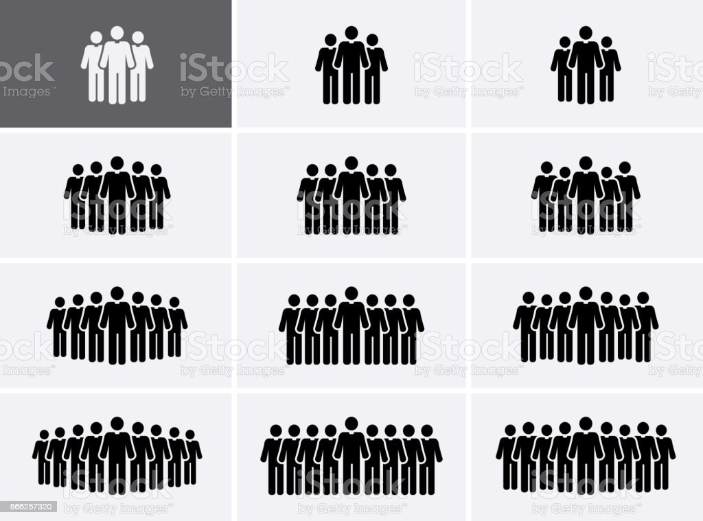 People Group Icons set. Crowd Icons. vector art illustration