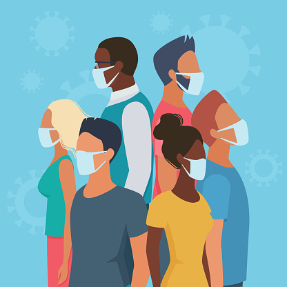 People group in masks in circle flat virus character concept vector illustration. Multiracial men, women in casual clothes on blue background stand back to back to defend each other from danger.