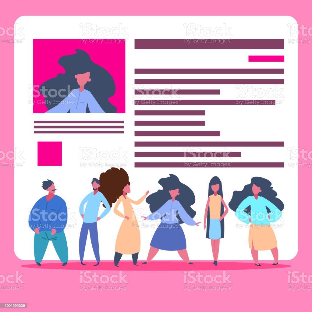 Ilustración de Grupo De Personas Sobre Cv Reanudar Equipo Elegir ...