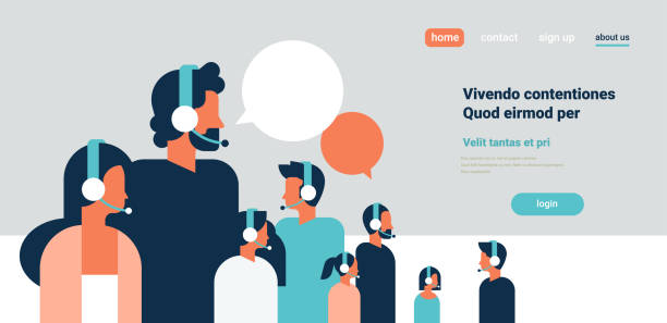 people group portrait chat bubbles communicating speech dialogue man woman headphones character background copy space horizontal flat people group portrait chat bubbles communicating speech dialogue man woman headphones character background copy space horizontal flat vector illustration call centre illustrations stock illustrations