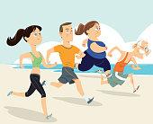 Vector People Group Running On Beach