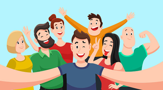People group selfie. Friendly guy makes group photo with smiling friends on smartphone camera in hands vector cartoon illustration clipart