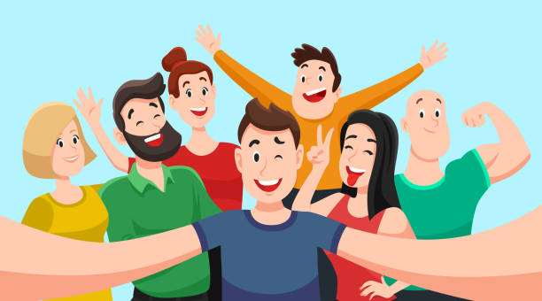 人々 は、selfie をグループ化します。優しい男になります手ベクトル漫画イラストでスマート フォンのカメラで友達に笑顔の集合写真 - 友情点のイラスト素材/クリップアート素材/マンガ素材/アイコン素材