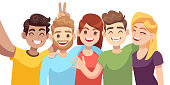 People group selfie. Guy takes group photo with smiling friends on smartphone in hands vector cartoon friendly taking shooting self young portrait characters