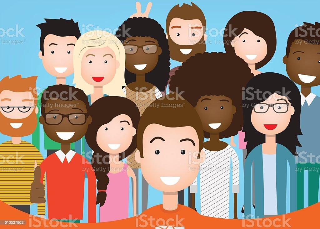 People Group Taking Selfie vector art illustration