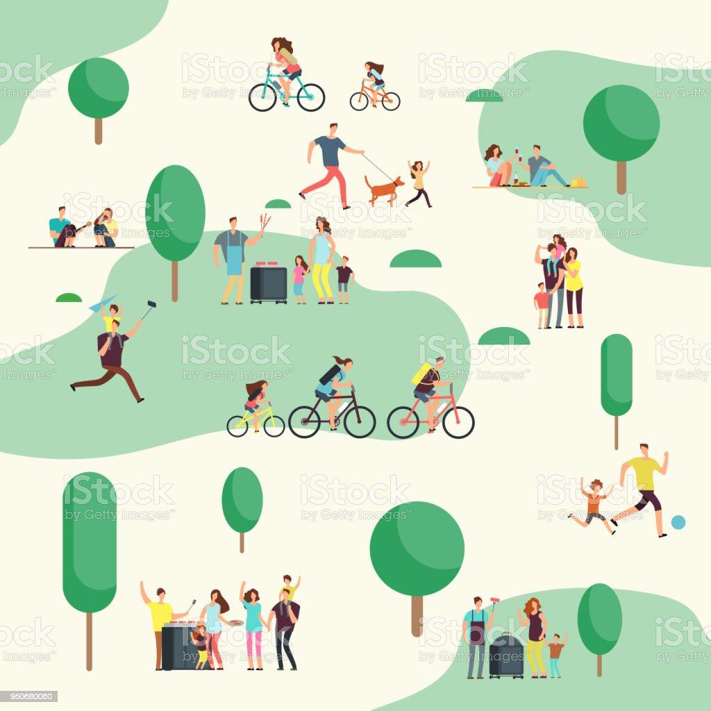 Grupos de personas en el picnic barbacoa. Familias felices en varias actividades al aire libre en el parque de verano. Personajes de dibujos animados vector - arte vectorial de Adulto libre de derechos