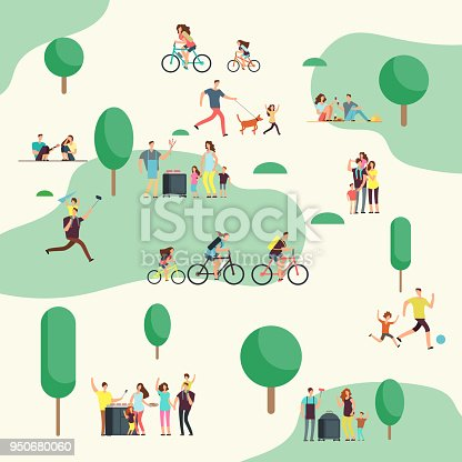 People groups on on bbq picnic. Happy families in various outdoor activity in summer park. Cartoon vector characters family in green park outdoor illustration
