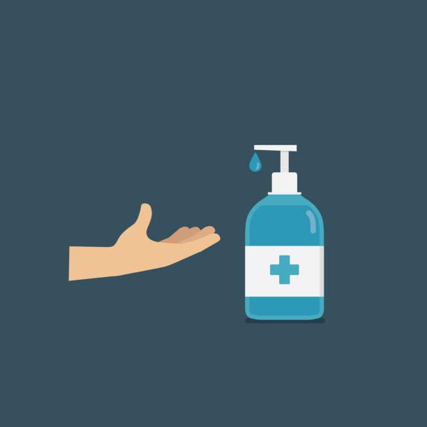 ilustraciones, imágenes clip art, dibujos animados e iconos de stock de personas que aplican desinfectante de manos o jabón. gel de desinfección - hand sanitizer