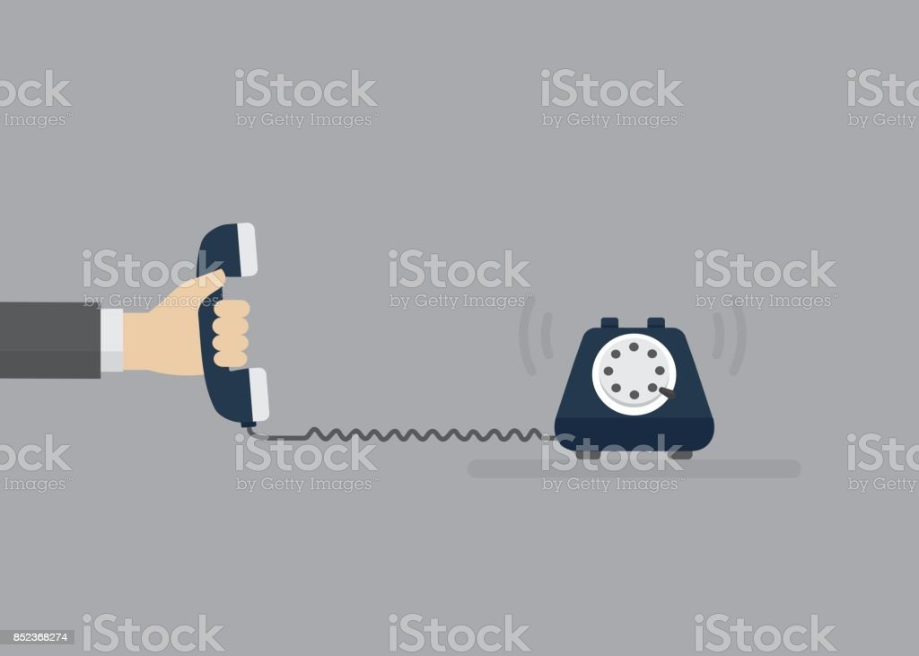 People Hand Holding Telephone Receiver. Contact Service Concept. Vector Illustration vector art illustration