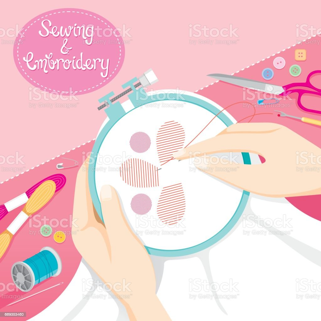 People Hand Sewing Clothes In Embroidery Hoop vector art illustration