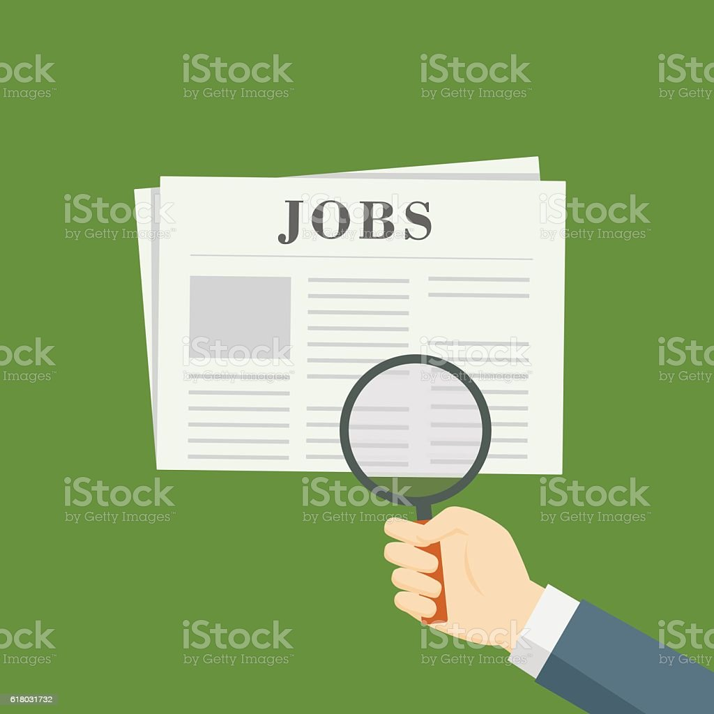 People Hand With Magnifying Glass Searching Jobs Vacancy On Newspaper vector art illustration