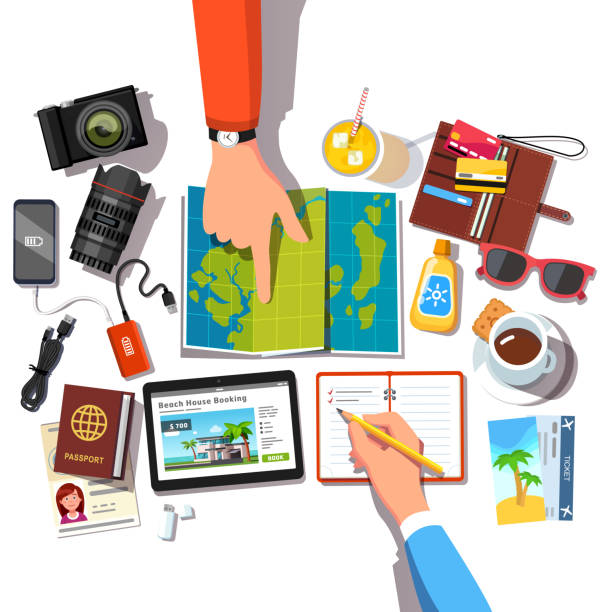people hands planning  vacation trip choosing journey location pointing on a world map and making check list of travel items like passports, phones, wallet. looking for a place to stay online on tablet pc. flat style vector - tourist stock illustrations