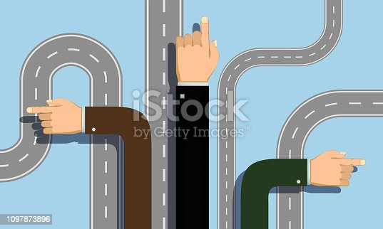 People hands point direction. Choice of the road. Vector illustration.
