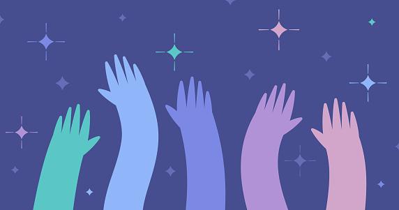 People Hands Raised Volunteer Background