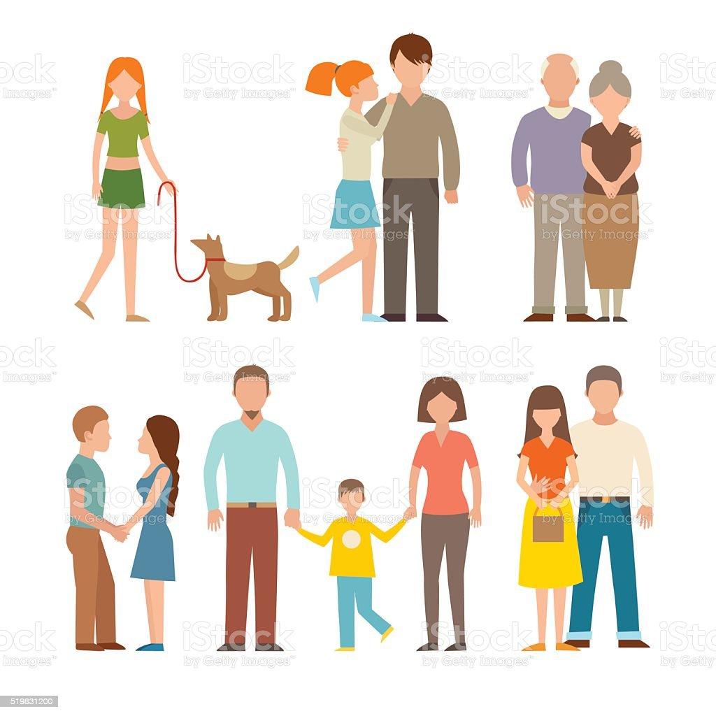 Les gens heureux couple de dessin animé Vector style de vie de couple et relations - Illustration vectorielle