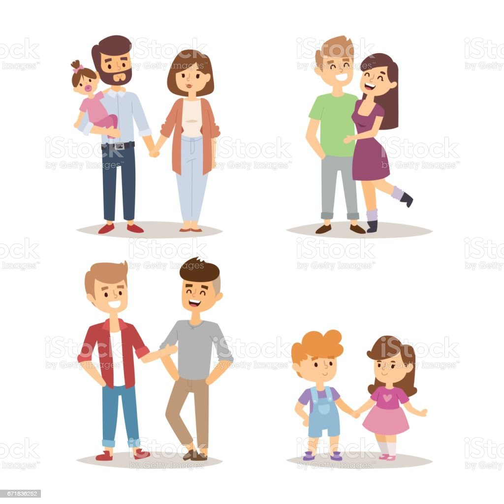 People happy couple cartoon relationship characters lifestyle vector illustration relaxed friends vector art illustration