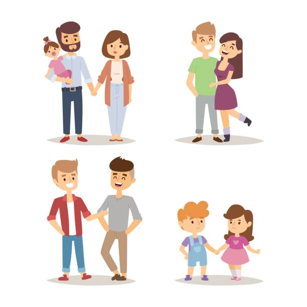 People happy couple cartoon relationship characters lifestyle vector illustration relaxed friends People happy couple cartoon and relationship characters lifestyle vector illustration. Relaxed friends group adult together romantic casual vacation retirement human. young couple stock illustrations
