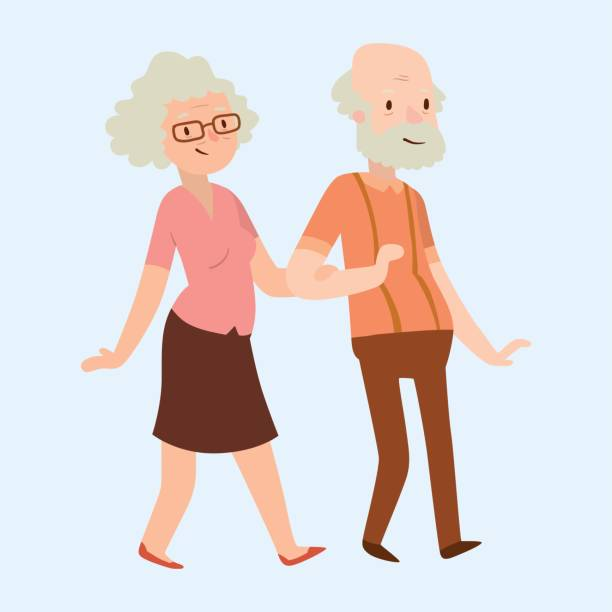bildbanksillustrationer, clip art samt tecknat material och ikoner med människor lyckliga paret tecknade relation tecken livsstil vektorillustration avslappnad vänner - middle aged man dating