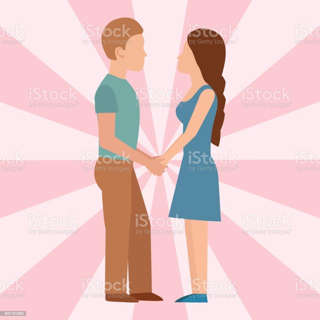 Ilustración De Gente Feliz Amor Pareja Dibujos Animados Relación